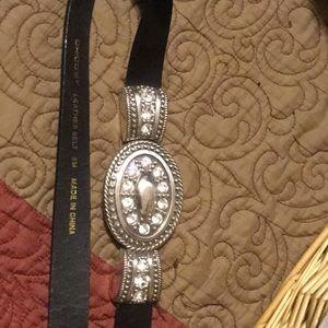 Chico's Women's black leather bling belt
